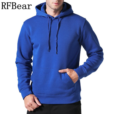 RFBear Brand 2017 new men casual Hoodies sweatshirt Solid color Print trend comfortable pullover coat  warm Clothes