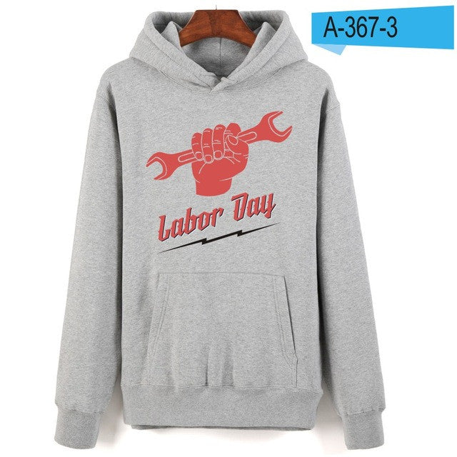 Labour day hoodies autumn winter Warm Streetwear Clothes Male
