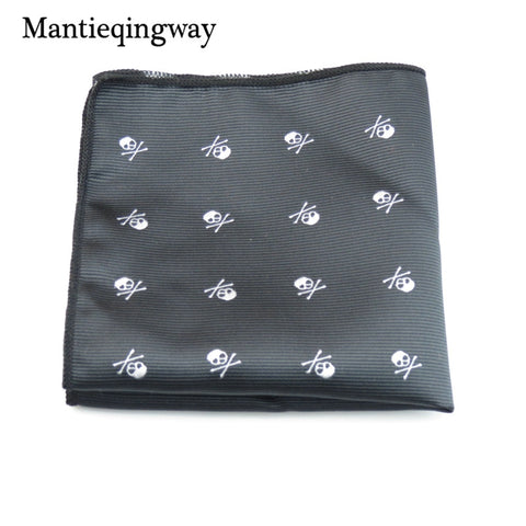 Mantieqingway Brand Skull Black Paisley Men's Handkerchief Polyester Dots Chest Towel Fashion Pocket Squares Tie Handkechiefs