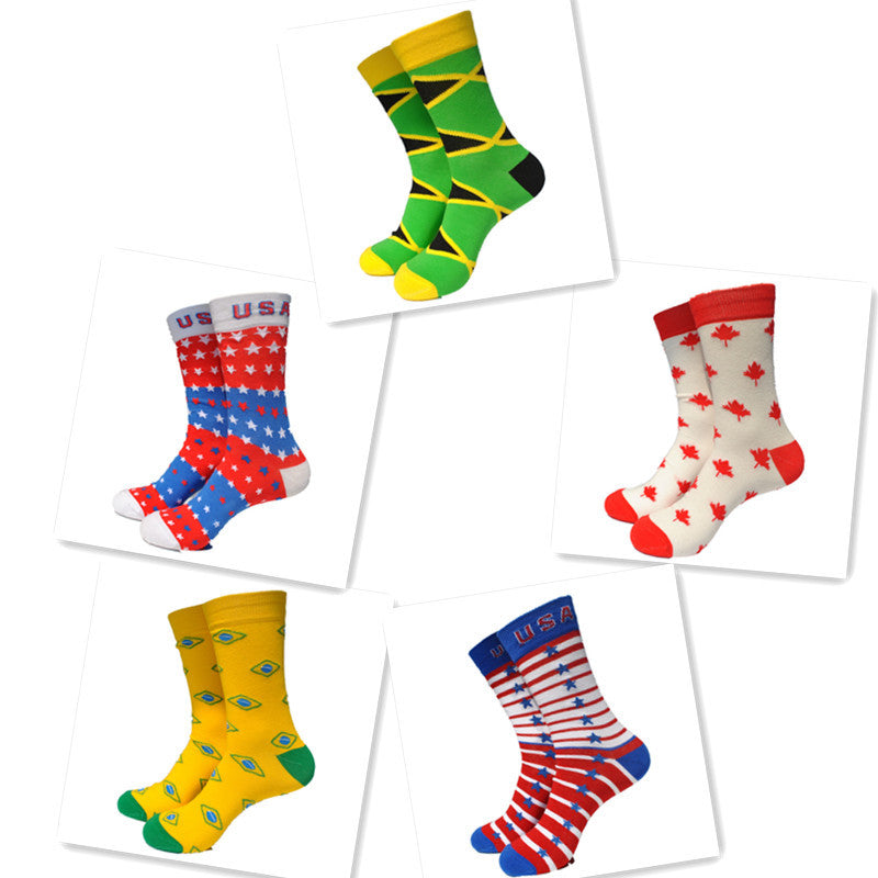 1 Pair USA CANADA Brazil National Flag Cotton Casual Socks Men's Socks