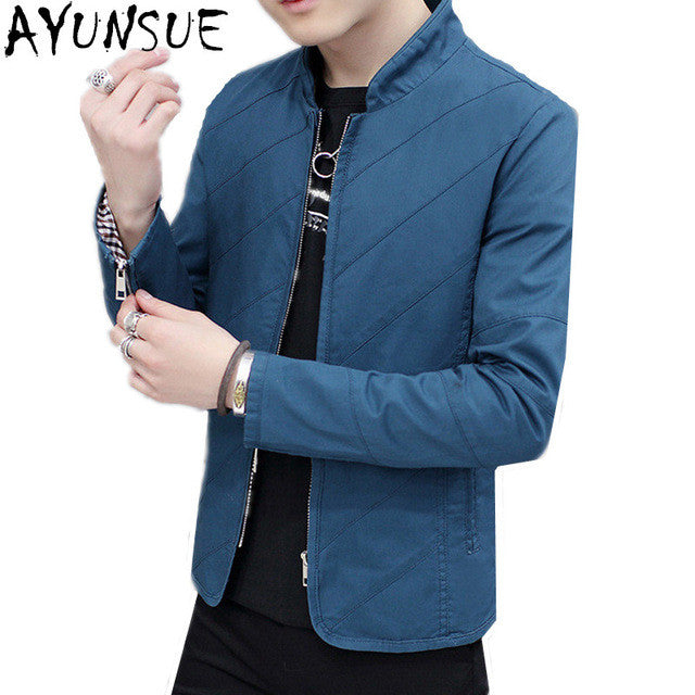 AYUNSUE Blue Mens Bomber Jackets Slim Spring Autumn Casual Outwear
