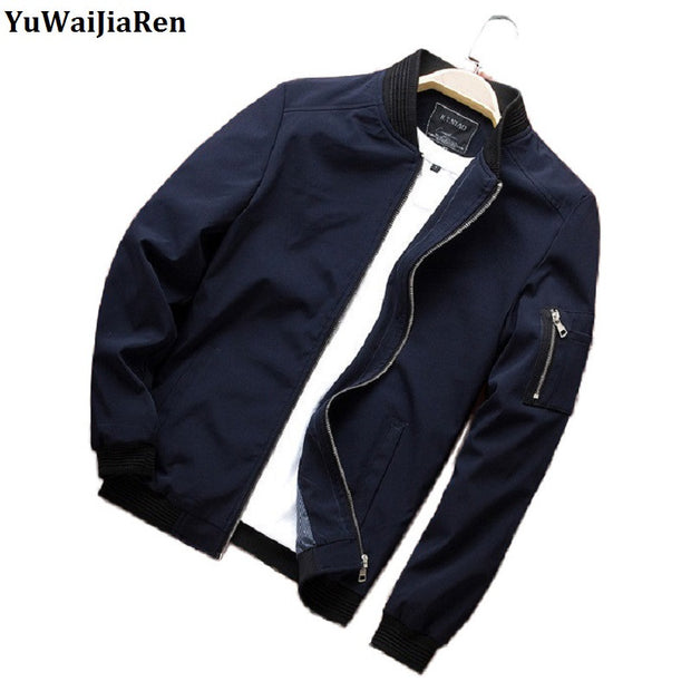 YuWaiJiaRen Jackets Man Casual Solid Color Coats Spring Jacket Male