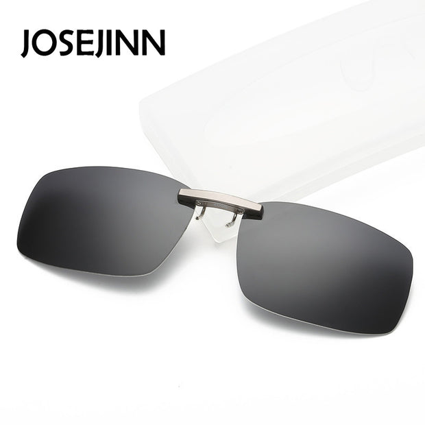 Classic Square rimless polarized clip on sunglasses men women