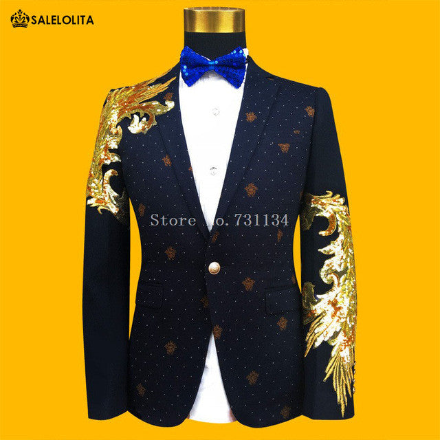 2017 Fashion Gold And Blue Embroidered Paillette Men Suits Male Singer