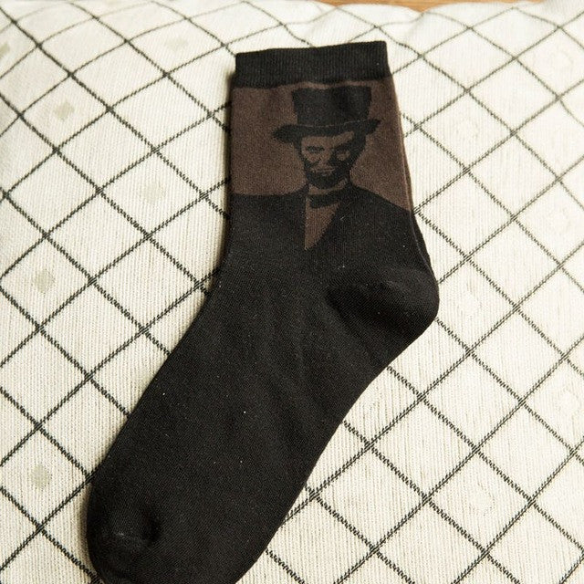 1Pair High Quality Fashion Retro Men Socks Painting Classical Portrait