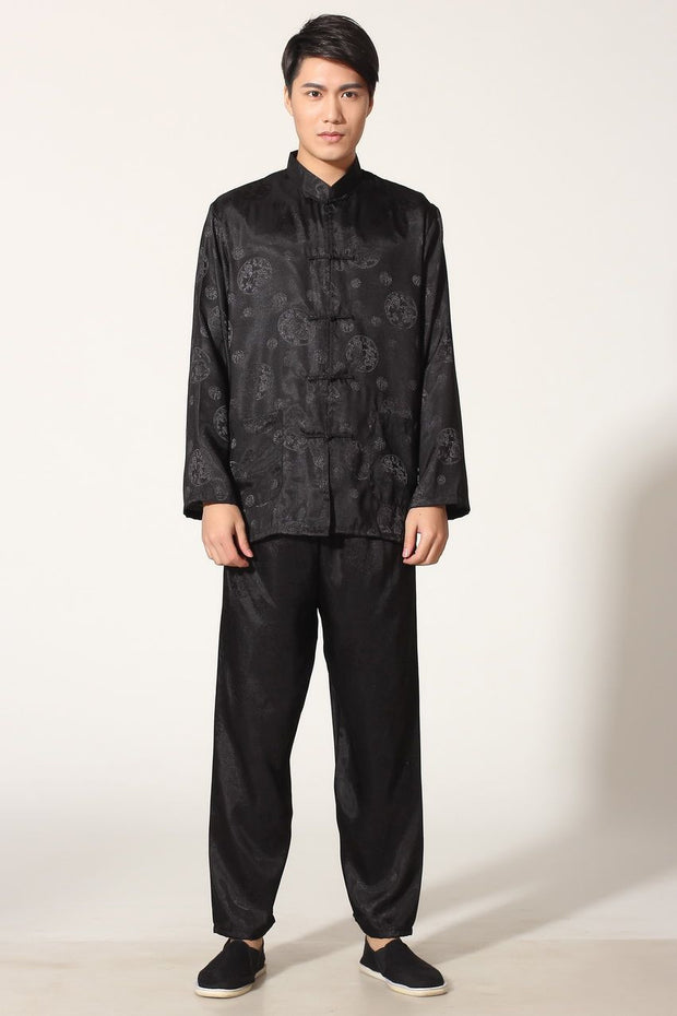 Black Chinese Men's Satin Silk Kung Fu Shirt Pants Suit Dragon Size