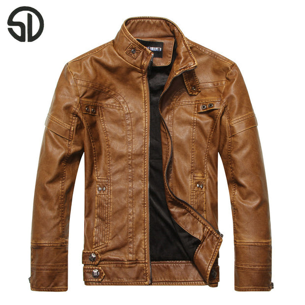 2017 Spring New Fashion Men's Leather Jacket Stand Collar Slim