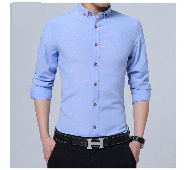 2017 brand casual Men's long sleeve cotton Shirt men slim Fit solid