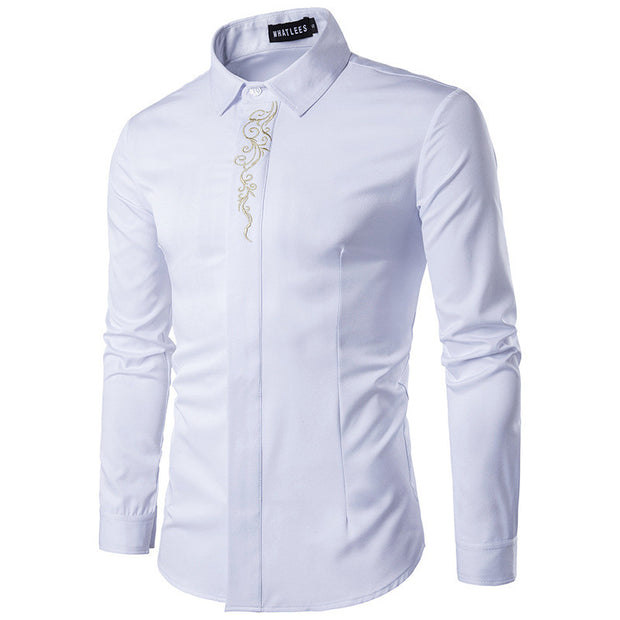 Embroidery Shirt Men 2017 Brand New Long Sleeve Mens Dress Shirts