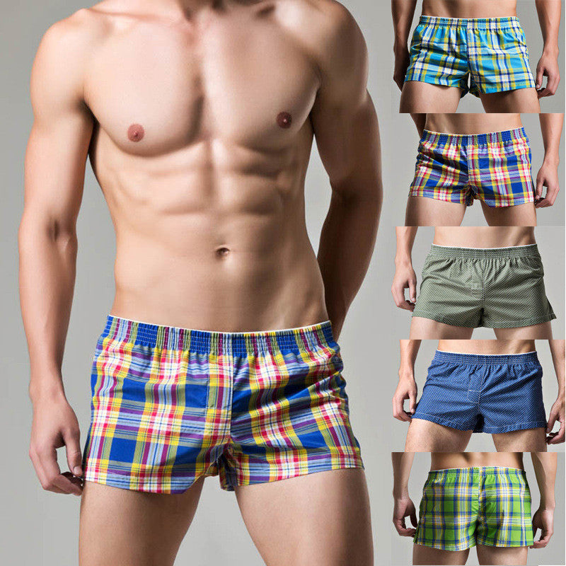 2017 Brand Superbody men gay underwear sexy grid boxers men's flat