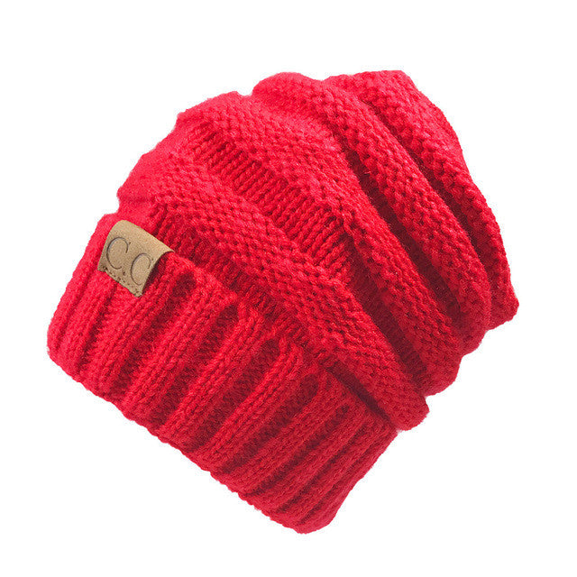 13 colors Unisex Winter Knitted Wool Cap Women Men Folds Casual CC