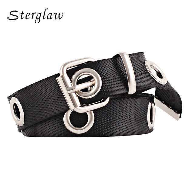 New woman metal round hole lengthened belt for women casual decorative