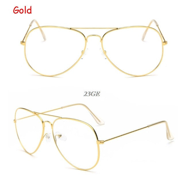 2017 Fashion Large Retro Metal Clear Lens Glasses Designer Tear Drop