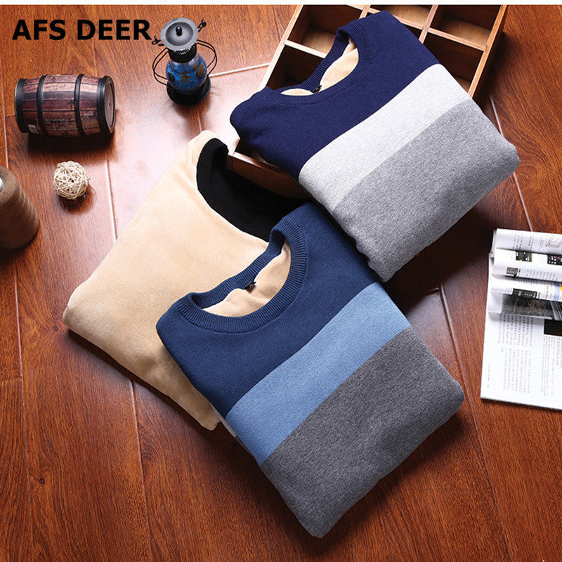 2016 New Autumn Fashion Brand Casual Sweater O-Neck Striped male