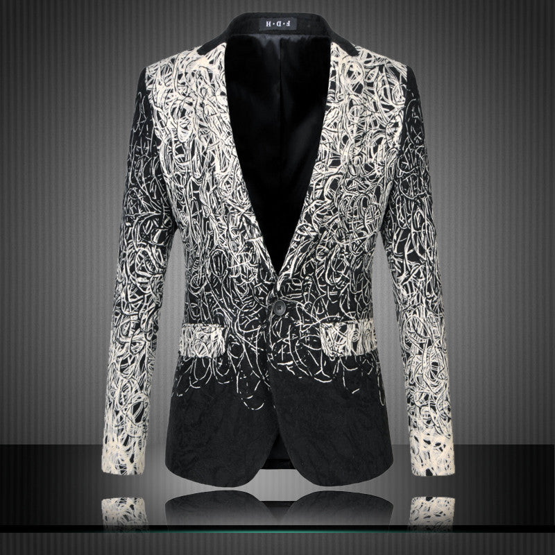 2016 Male plus size Casual Suit jacket Print Suit gradient outerwear