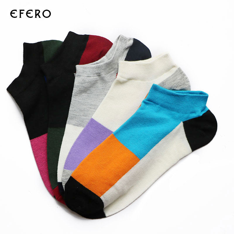 1PairCasual Summer Men's Socks Art Colorful Low Cut Socks Ankle Male