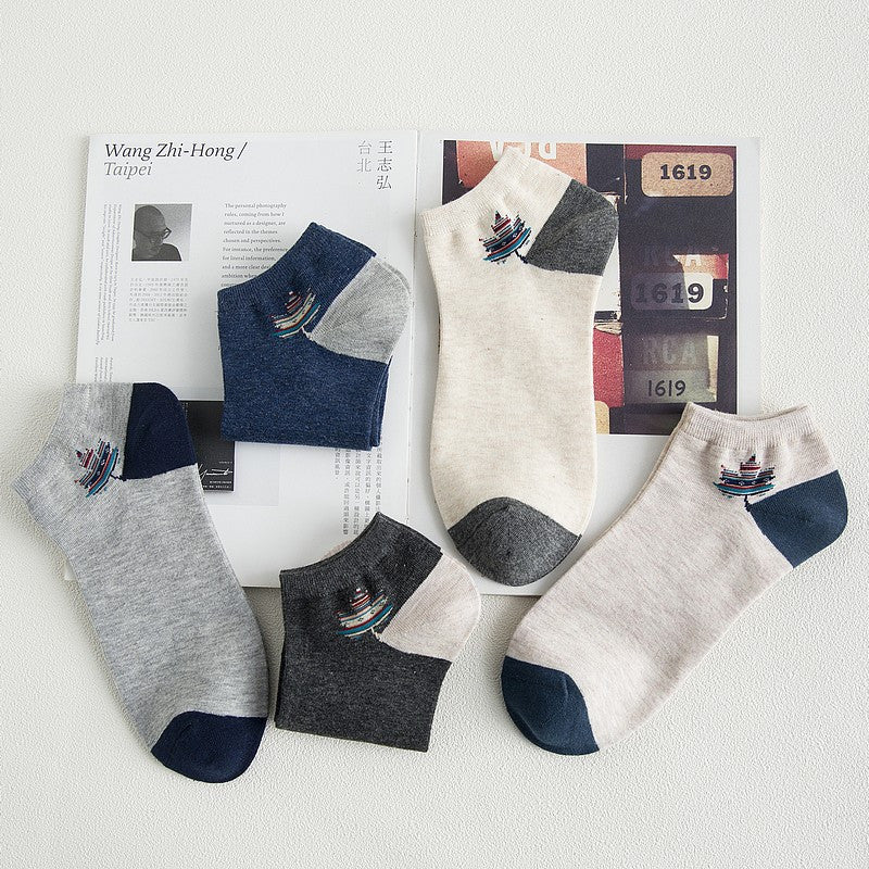 10 pieces = 5 pairs summer maple leaves men's socks and socks
