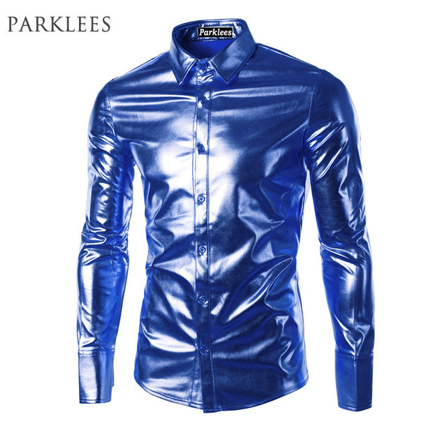 Blue Coated Metallic Shirt Men Brand Night Club Wear Men Dress