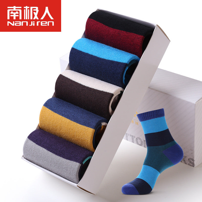 100% cotton cute Men 's socks spring casual stripe patchwork socks