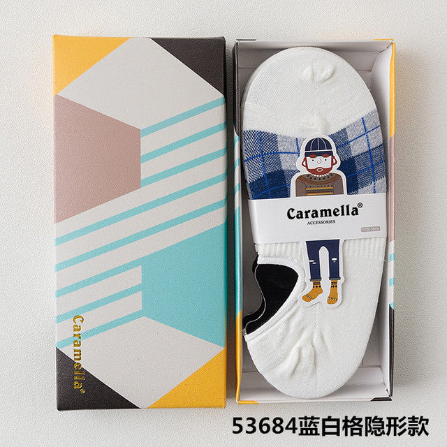 2017 4 pairs new Caramella Solid Cotton Multi-color men's gift color