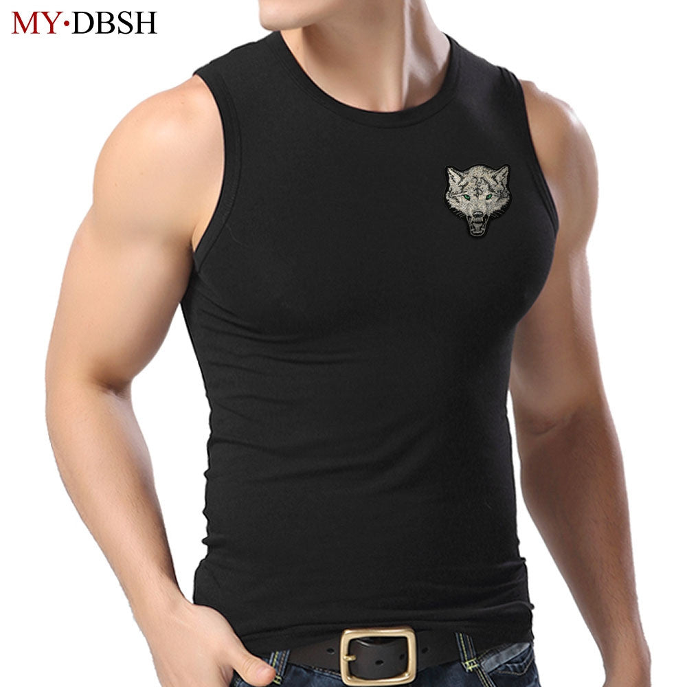 2017 High Quality Fashion Wolf Embroidery Cotton Casual Fitness