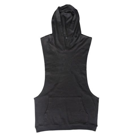Stylish Men Sleeveless Sweatshirt Hoodie Solid Shirt Summer Fitness Wear Muscle Tops For Male Hoodies Sweat Pocket Clothing Hot