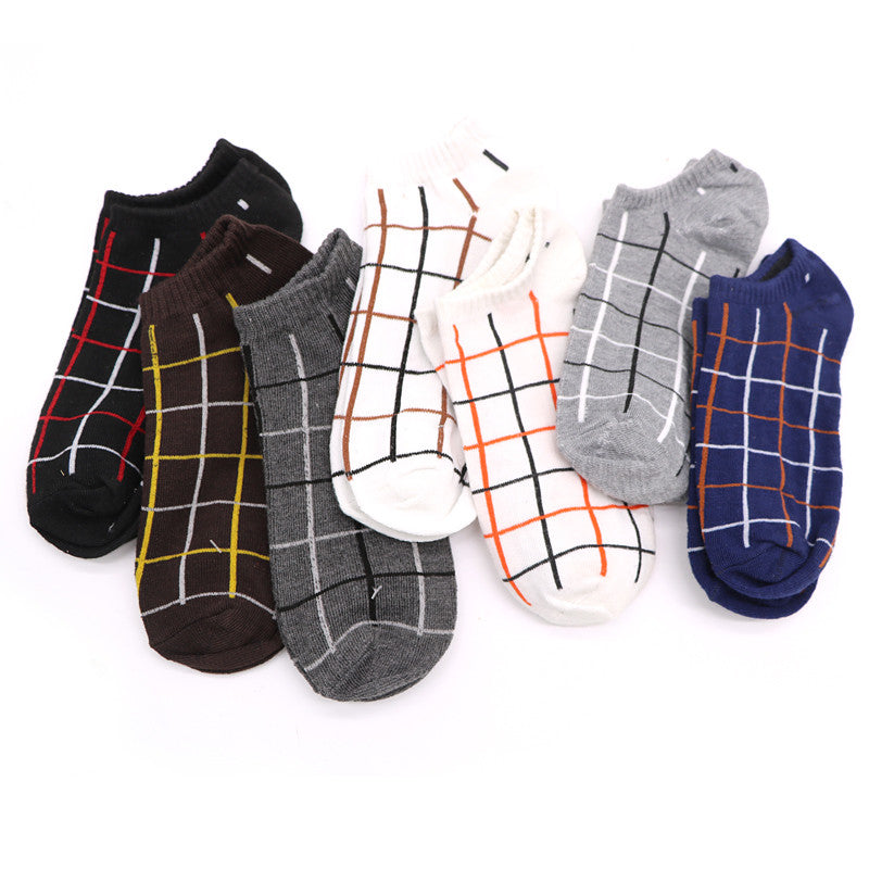 10Pair/Lot Brand Quality Casual Men's Socks Short  5 Color Rhombus