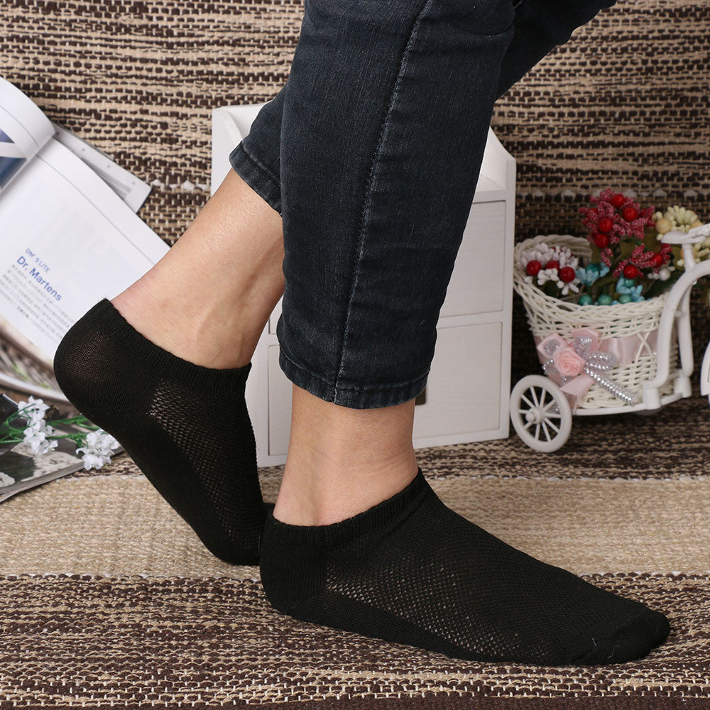 1Pair New Fashion Mens Womens 9-11 10-13 Crew Ankle Cut Socks Black