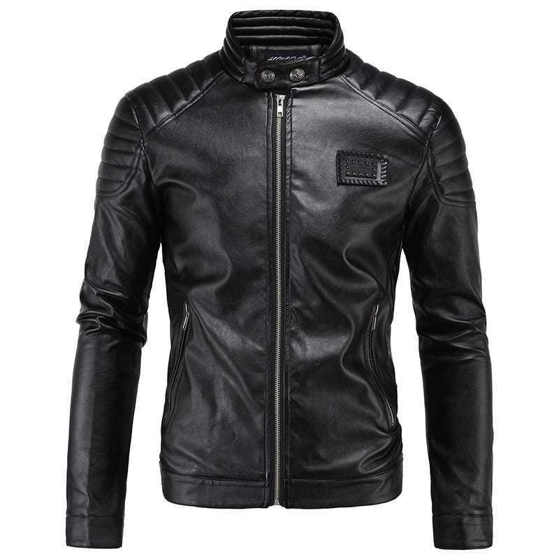 2016 Slim Leather Jacket Men Stand Collar Sheepskin Jacket Short