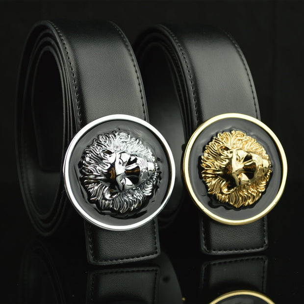 2017 New Split Leather Designer Belts Men High Quality Lion Metal