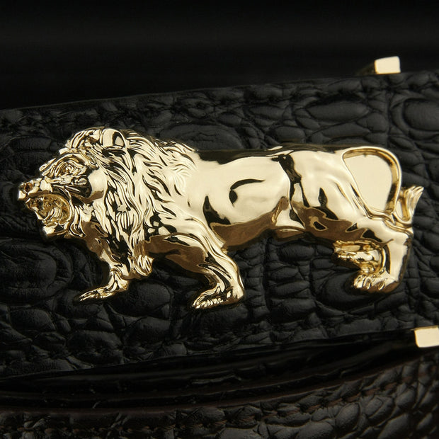 metal Lion belt men 3.8cm wide High Quality genuine leather designer