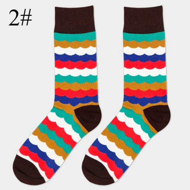 16 Colors Available!1Pair Charming Men Colored Striped Cotton Socks