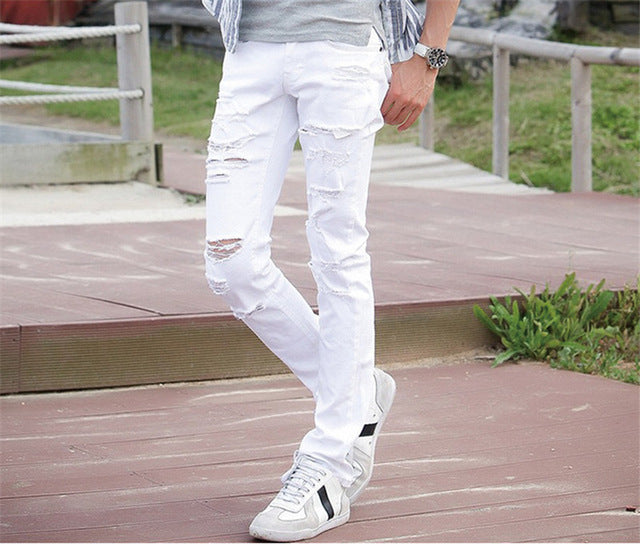 MORUANCLE Mens White Ripped Jeans Pants With Holes Super Skinny Slim