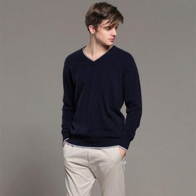 2017 Autumn winter NEW V-collar Cashmere Sweater  Solid color Loose