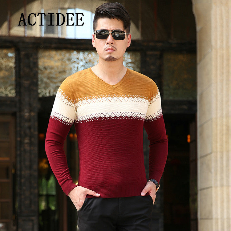 2017 Autumn Winter Loose Long Sleeve Patchwork Fashion Sweater Men's