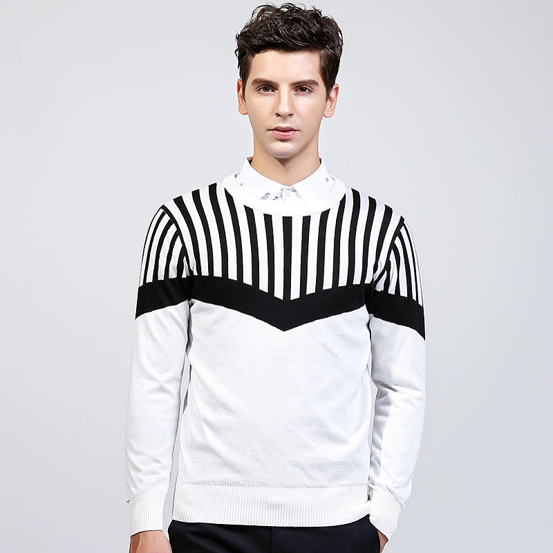 2017 Brand New Autumn And Winter Fashion Stripe Sweater O-neck Slim