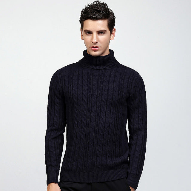 2017 Autumn Winter New Fashion Casual Sweater Turtleneck Slim Fit