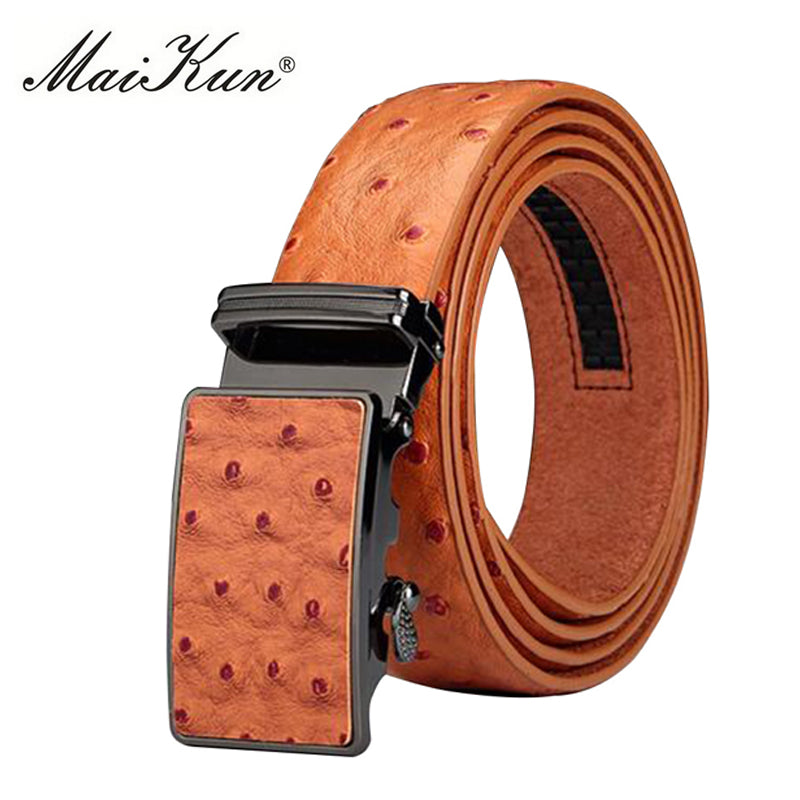Luxury Genuine Leather Belts for Men Belt Ostrich Grain Cowskin