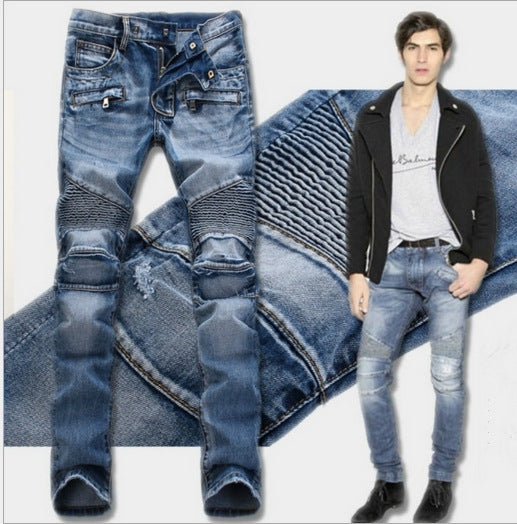 2017 New Balmai Biker Jeans Men High Stretch Cargo Denim Jeans with