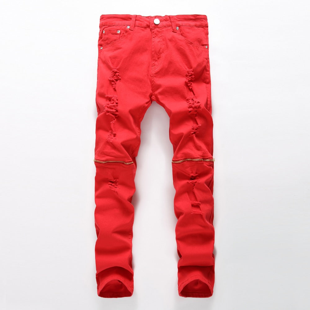 New Fashion Men Ripped Designer Jeans Pants Slim Fit Knee Zipper red