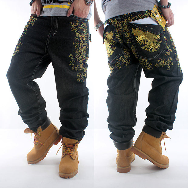 2017New HIPHOP Black mens jeans hip hop gold embroidery loose baggy