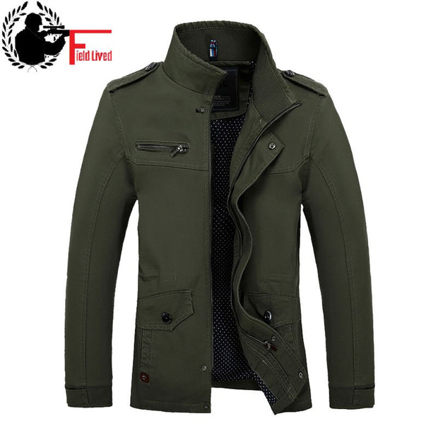 2017 Autumn Men Slim Fit Military Jacket Coats Outerwear Stand