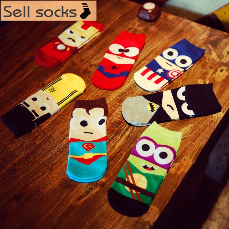 2016 new summer super hero Cartoon  man Casual ankle cotton socks