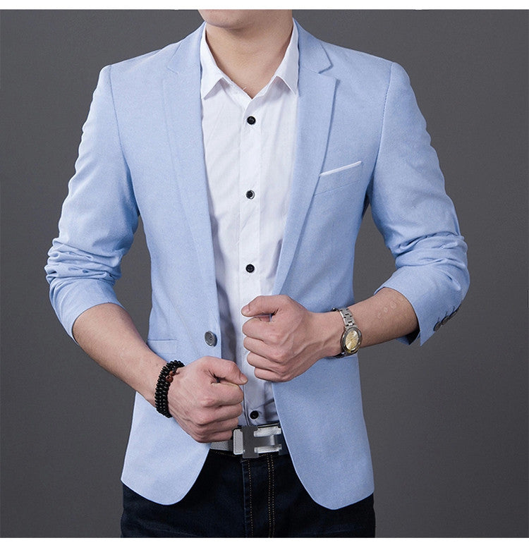 2017 Fashion Men Casual 1 Cotton Jackets Male Slim Fit formal Sky Blue