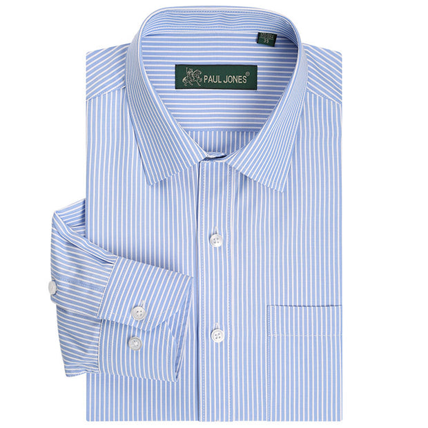 Classic Striped Men Dress Shirts Long Sleeve Plus Size Business Formal