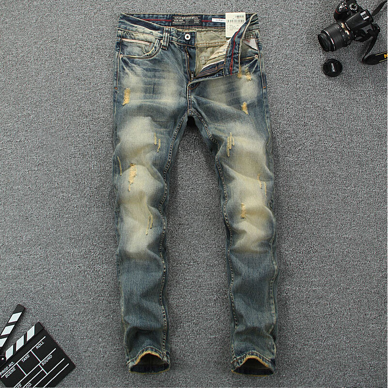 2016 New arrival mens jeans brand design printed jeans mens high