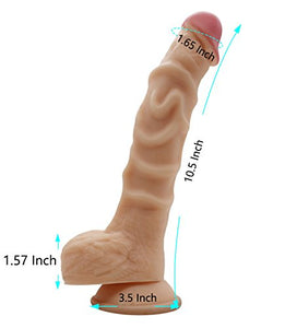 10inch Lifelike Ribbed Penis Dildo with suction cup