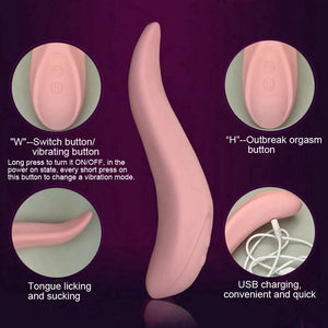 Automatic Tongue ,Lick and  Suck  Clitoris Cunnilingus stimulator  with 68 modes of vibration