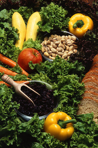different green leafy vegetables, crops, fruits and nuts