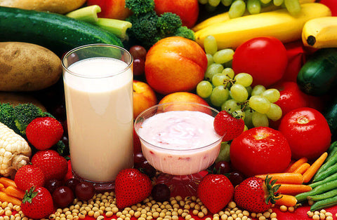fruits, vegetables, milk and yogurt